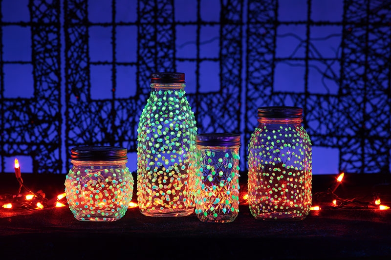 Upcycle used jar with glow in the dark paint