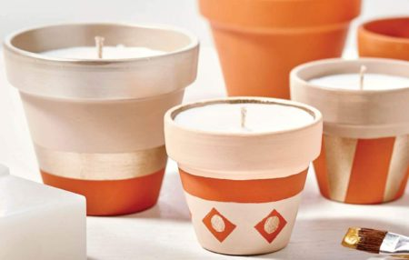 Scented Candle in Terracotta Pot